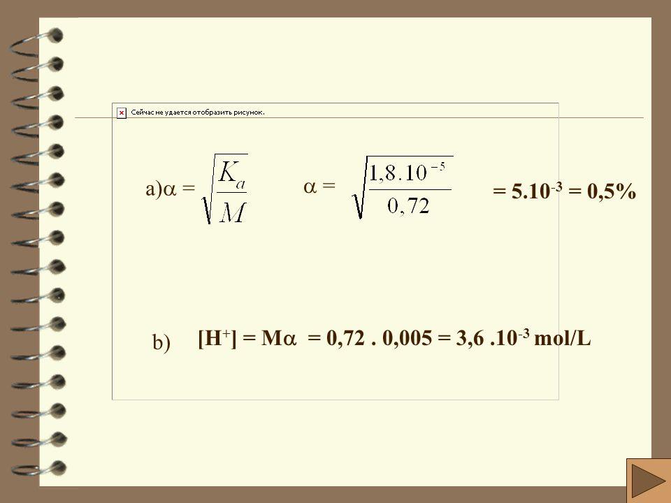 a) =  = = 5.10-3 = 0,5% b) [H+] = M = 0,72 . 0,005 = 3,6 .10-3 mol/L